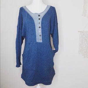 Free People | 🌿 Denim and Sweatshirt Tunic Dress